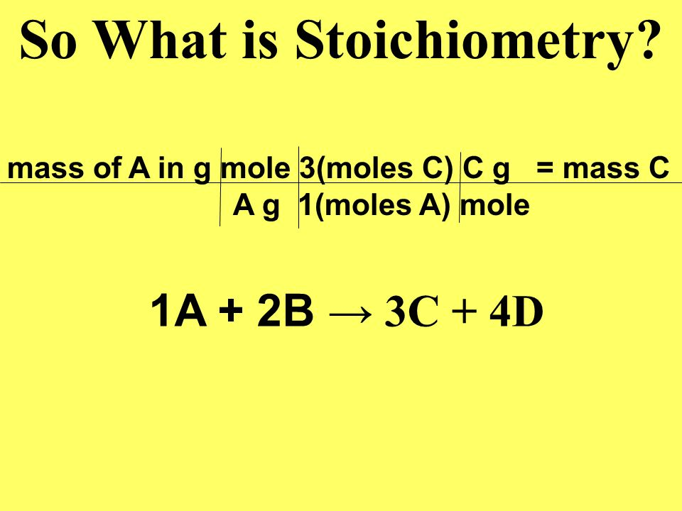 So What is Stoichiometry