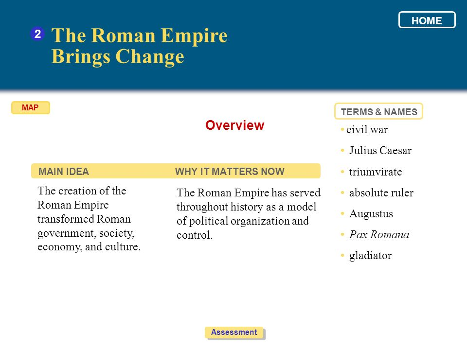 The Roman Empire Brings Change Overview 2 • civil war • Julius Caesar