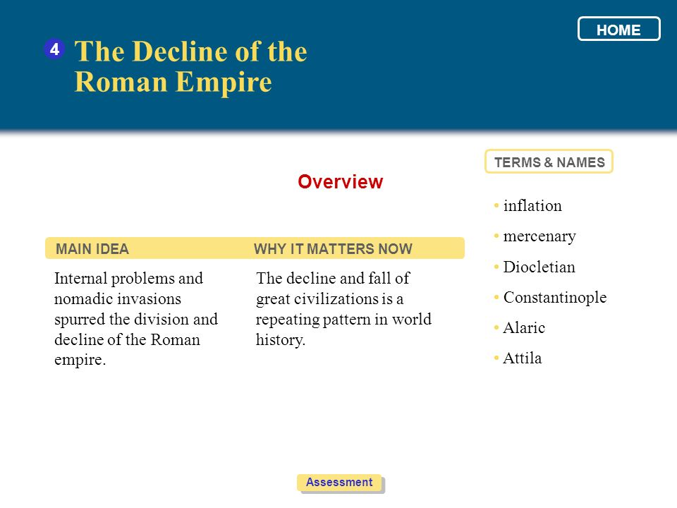 The Decline of the Roman Empire Overview 4 • inflation • mercenary