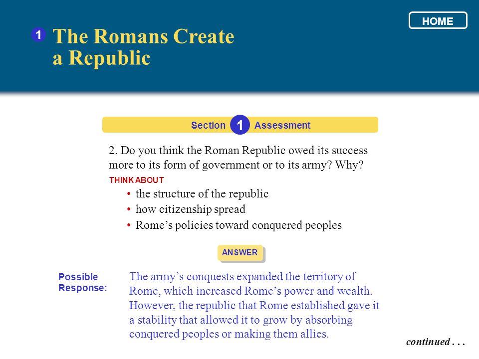 The Romans Create a Republic 1 1
