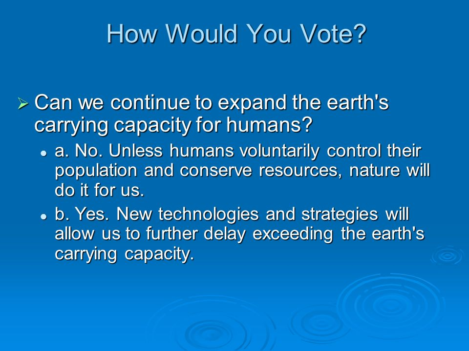 How Would You Vote Can we continue to expand the earth s carrying capacity for humans