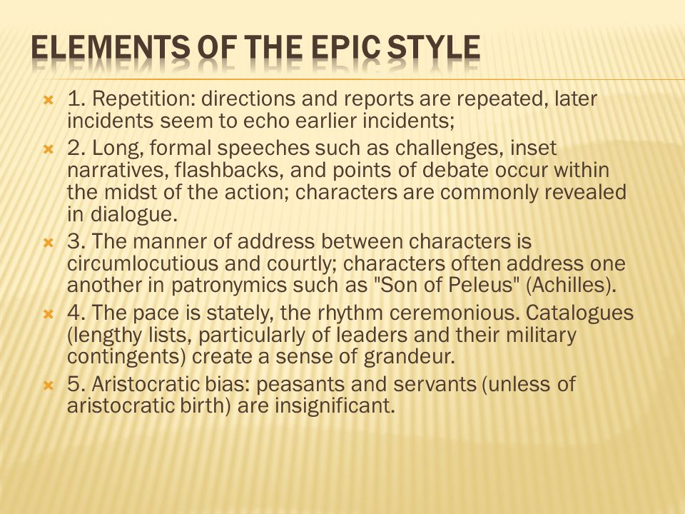 Elements of the Epic Style