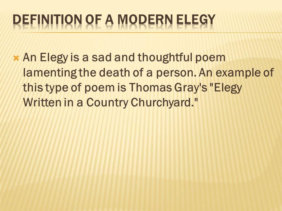Definition of a Modern Elegy