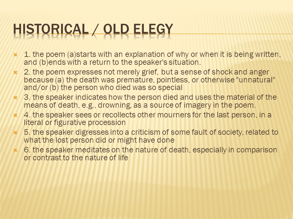 Historical / Old Elegy