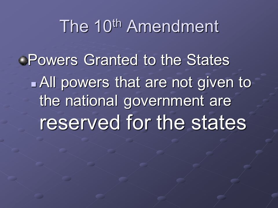 The 10th Amendment Powers Granted to the States