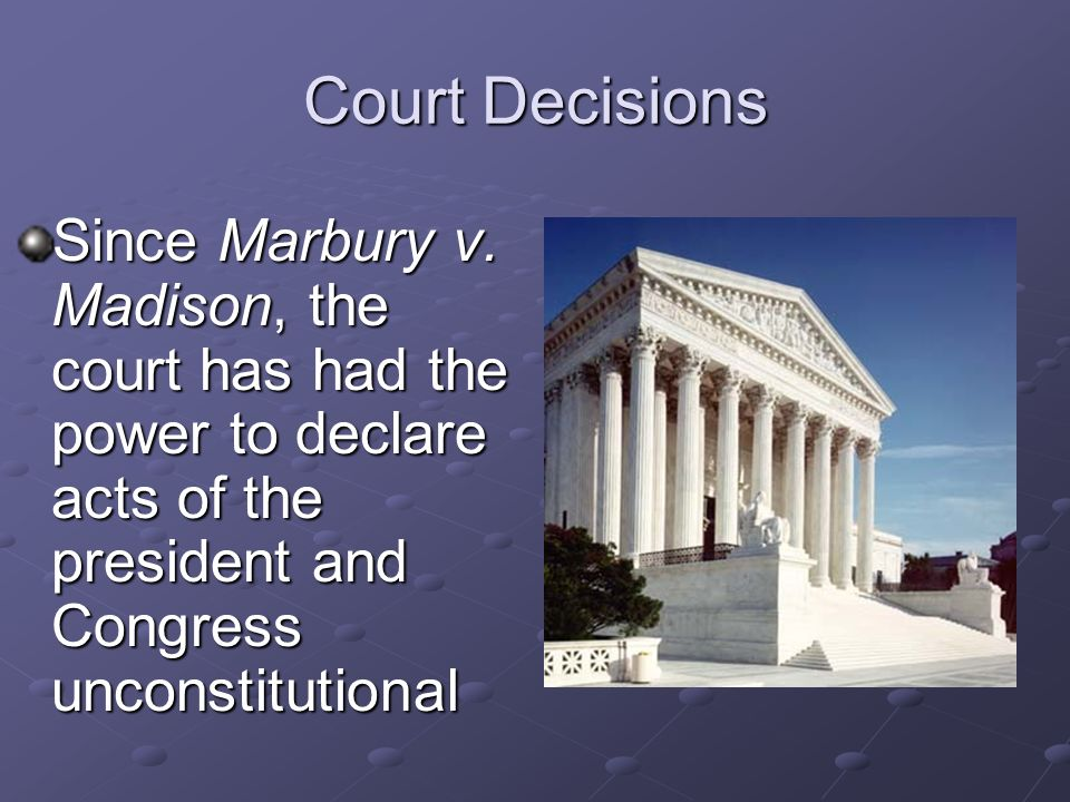 Court Decisions Since Marbury v.