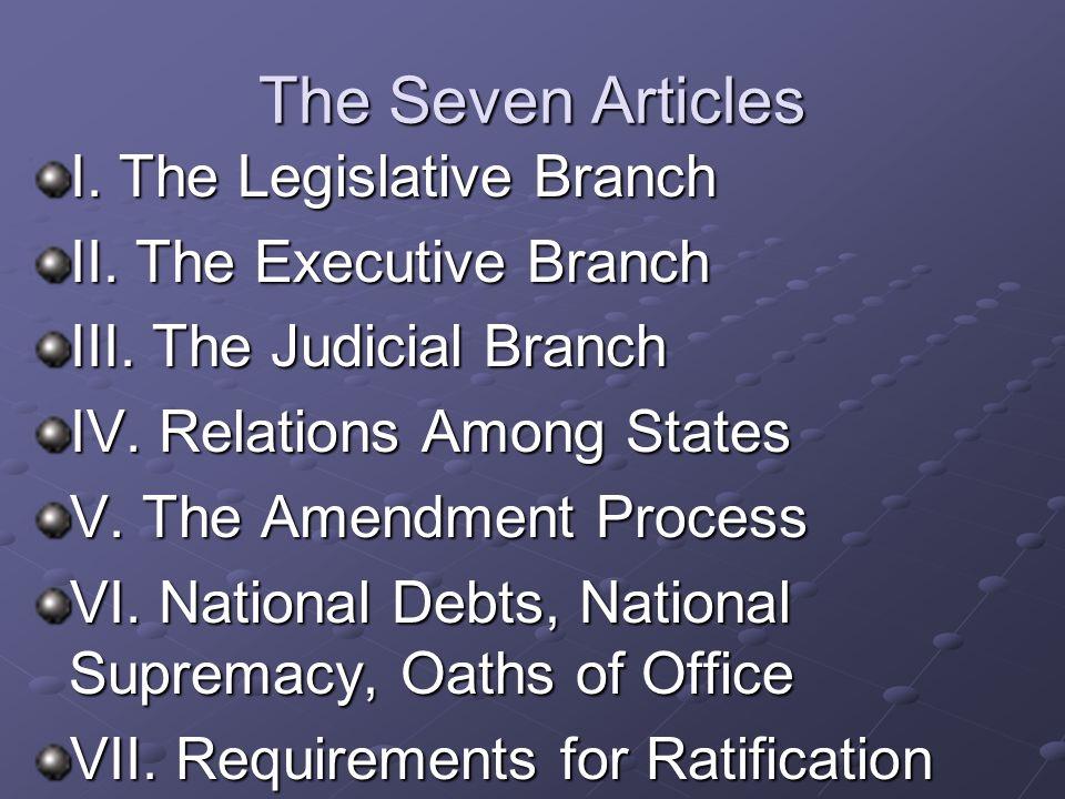 The Seven Articles I. The Legislative Branch II. The Executive Branch