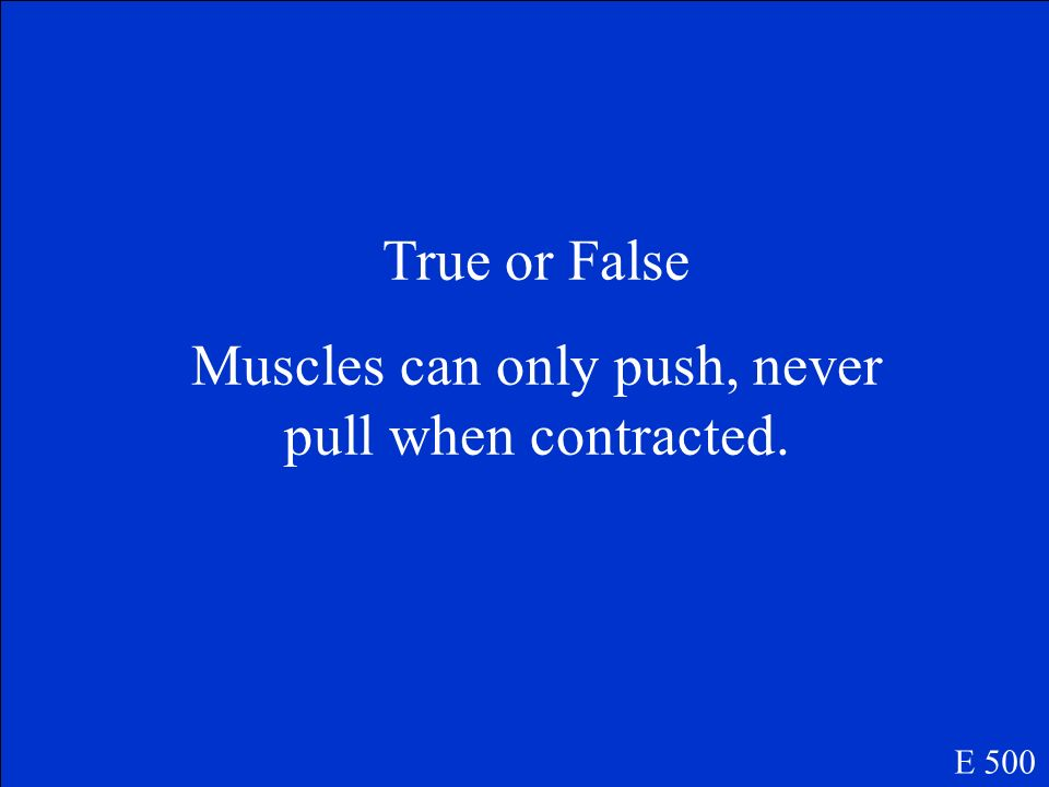 Muscles can only push, never pull when contracted.