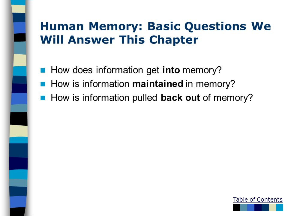 Human Memory: Basic Questions We Will Answer This Chapter