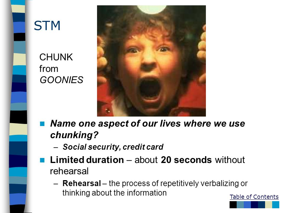 STM CHUNK from. GOONIES. Name one aspect of our lives where we use chunking Social security, credit card.