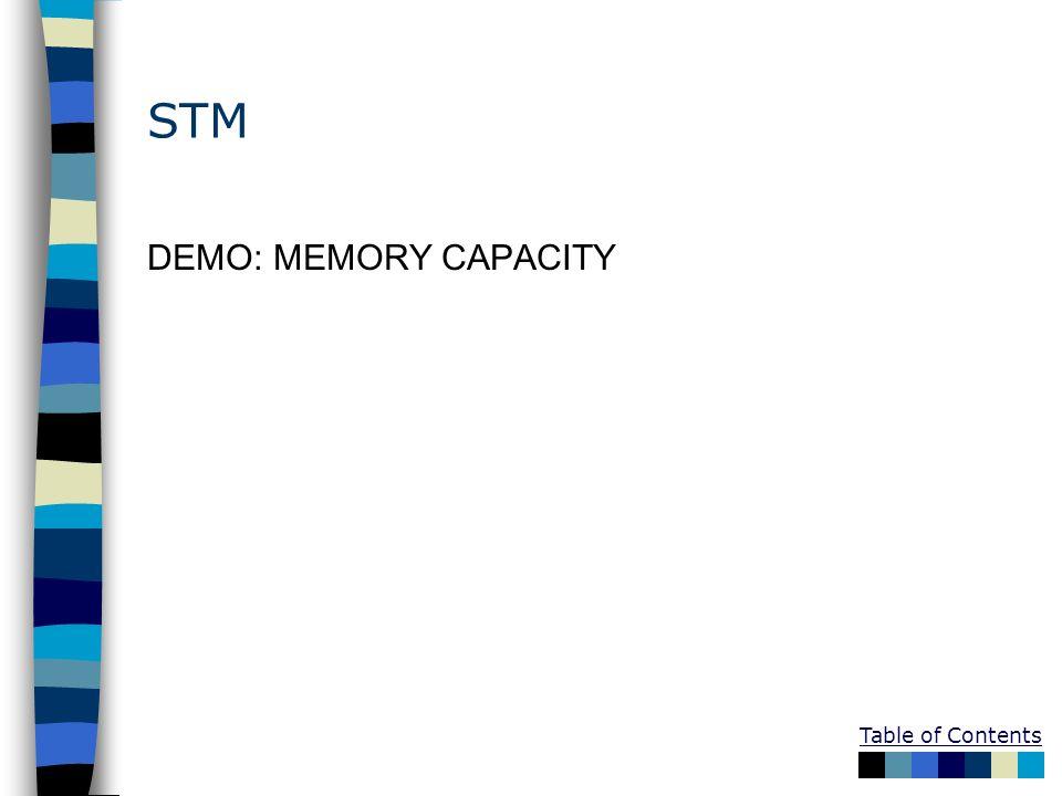 STM DEMO: MEMORY CAPACITY