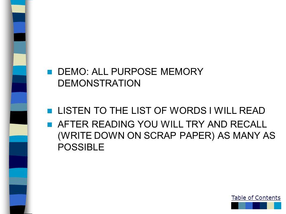 DEMO: ALL PURPOSE MEMORY DEMONSTRATION