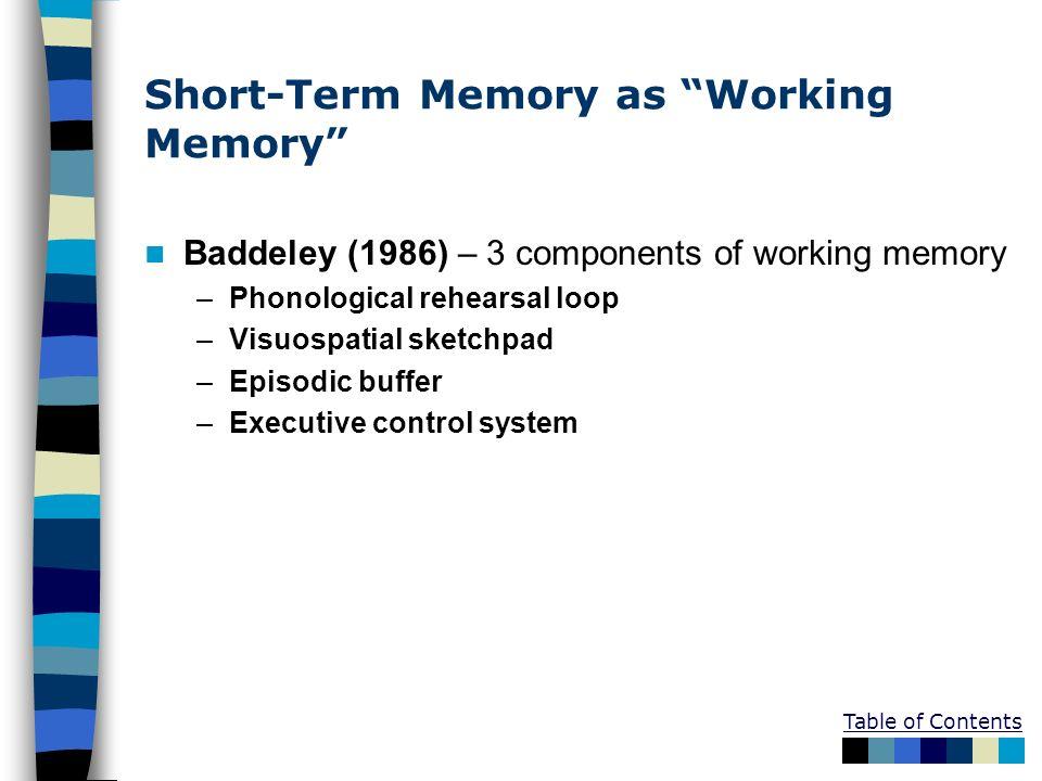Short-Term Memory as Working Memory