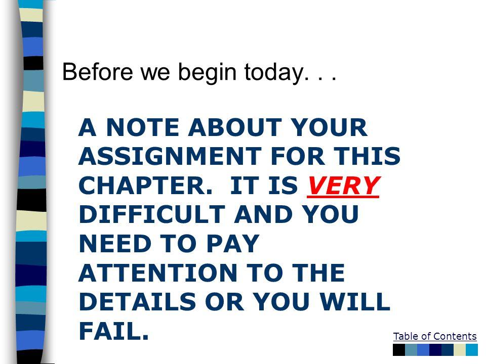 Before we begin today. . .