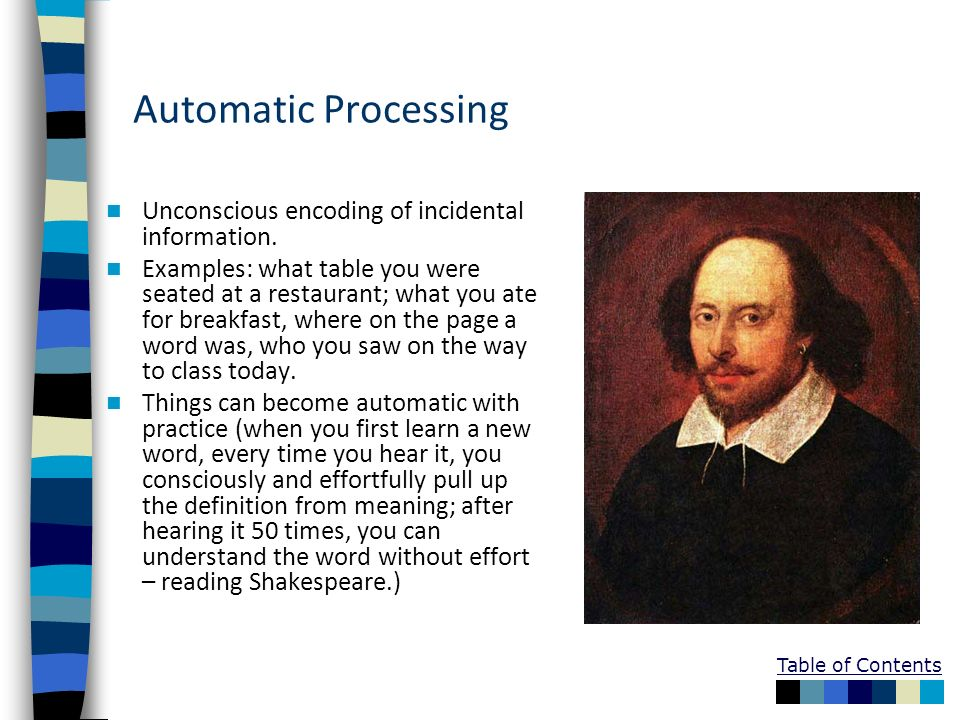 Automatic Processing Unconscious encoding of incidental information.