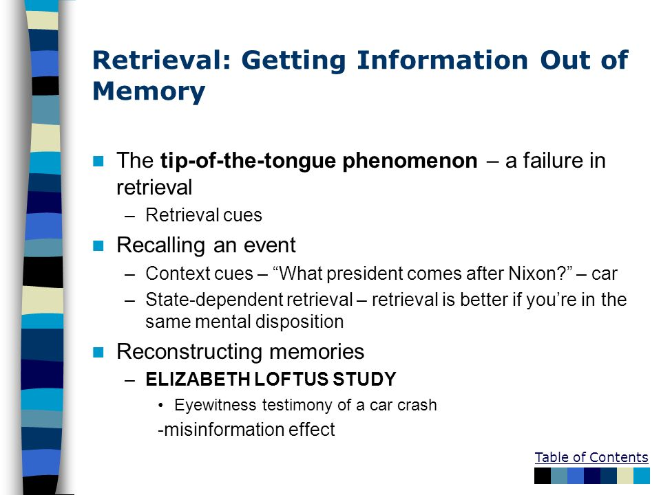 Retrieval: Getting Information Out of Memory