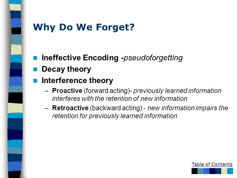 Why Do We Forget Ineffective Encoding -pseudoforgetting Decay theory