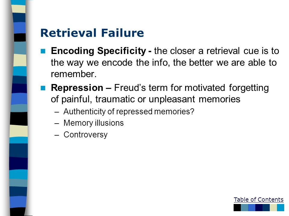 Retrieval Failure Encoding Specificity - the closer a retrieval cue is to the way we encode the info, the better we are able to remember.