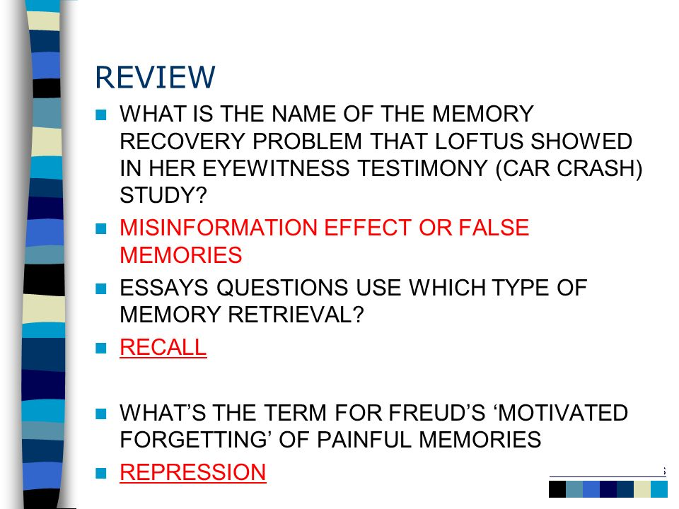 REVIEW WHAT IS THE NAME OF THE MEMORY RECOVERY PROBLEM THAT LOFTUS SHOWED IN HER EYEWITNESS TESTIMONY (CAR CRASH) STUDY
