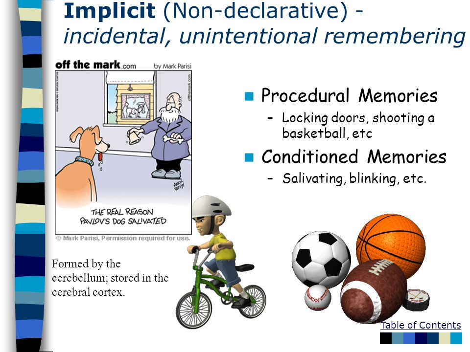 Implicit (Non-declarative) - incidental, unintentional remembering -