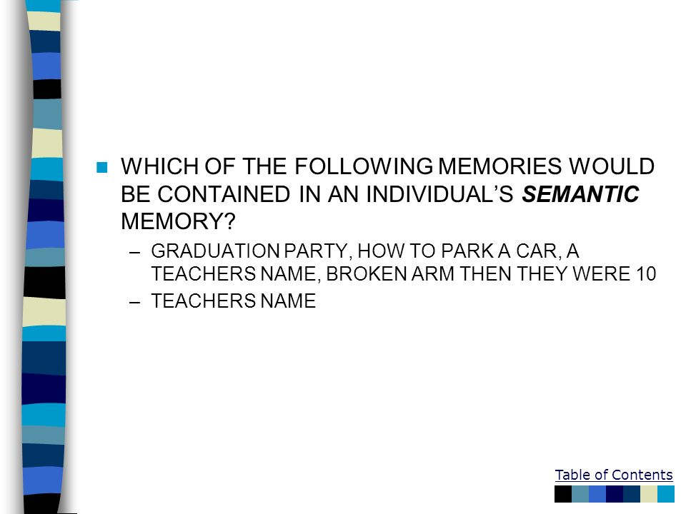 WHICH OF THE FOLLOWING MEMORIES WOULD BE CONTAINED IN AN INDIVIDUAL'S SEMANTIC MEMORY