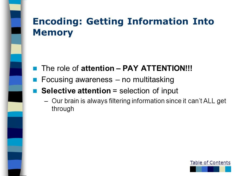 Encoding: Getting Information Into Memory