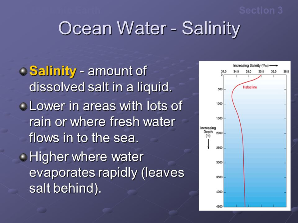 Ocean Water - Salinity Salinity - amount of dissolved salt in a liquid. Lower in areas with lots of rain or where fresh water flows in to the sea.
