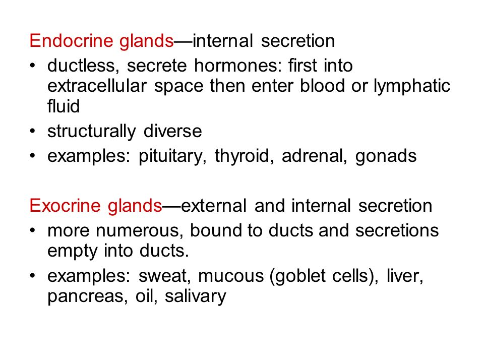 Endocrine glands—internal secretion