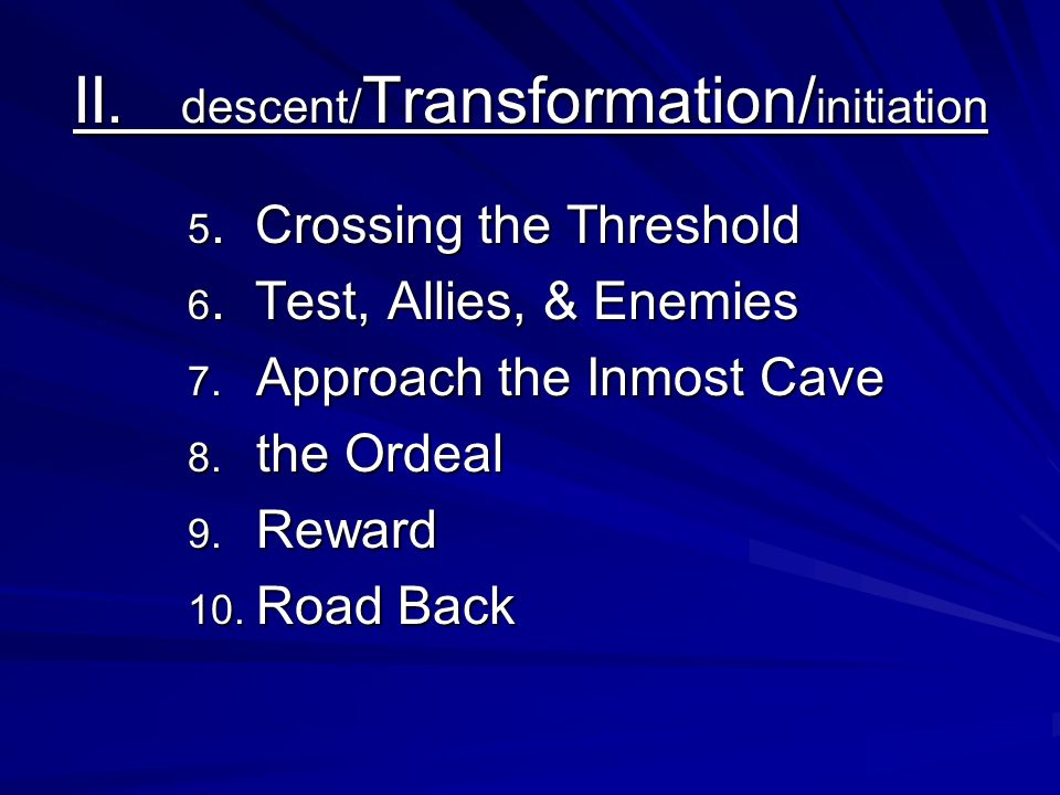 II. descent/Transformation/initiation