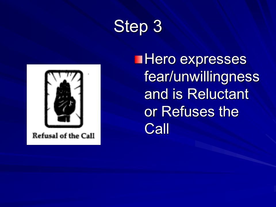Step 3 Hero expresses fear/unwillingness and is Reluctant or Refuses the Call