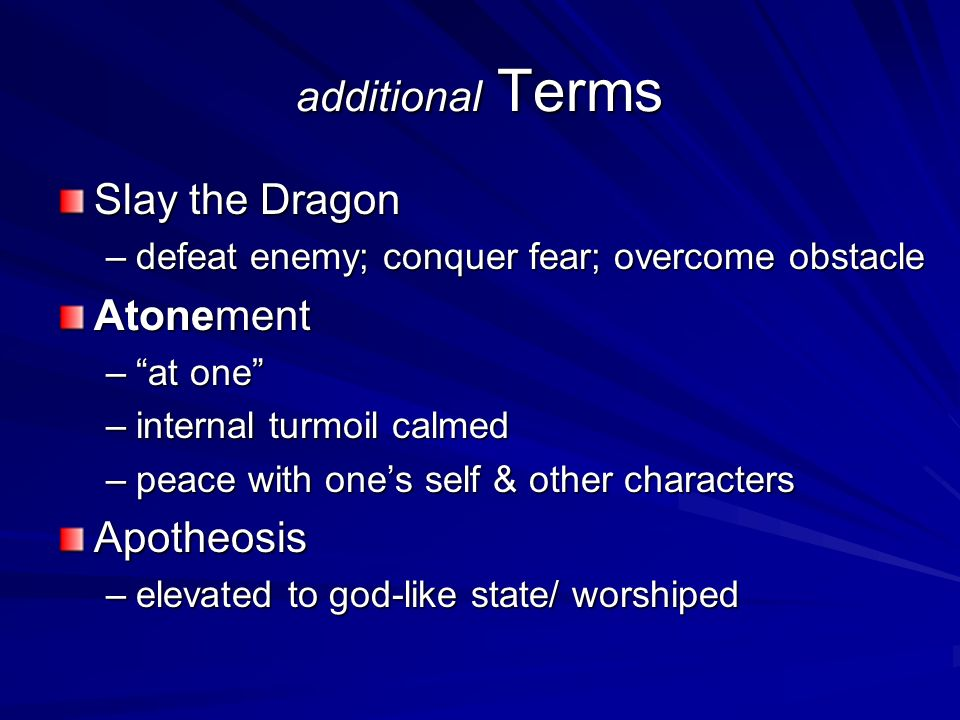 additional Terms Slay the Dragon Atonement Apotheosis