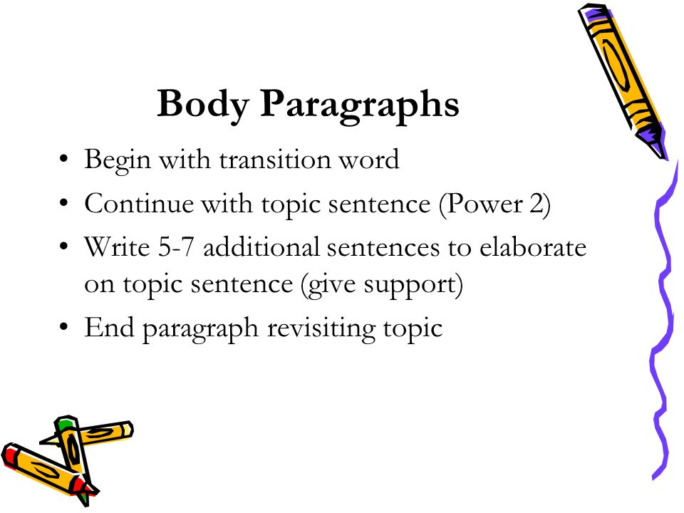 Body Paragraphs Begin with transition word