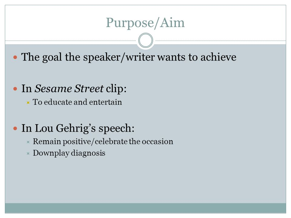 Purpose/Aim The goal the speaker/writer wants to achieve