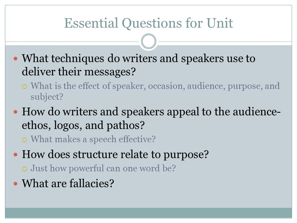 Essential Questions for Unit
