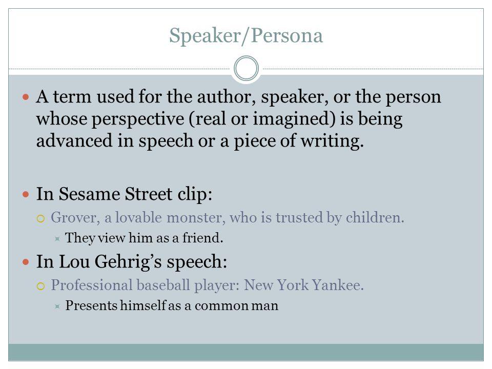 Speaker/Persona