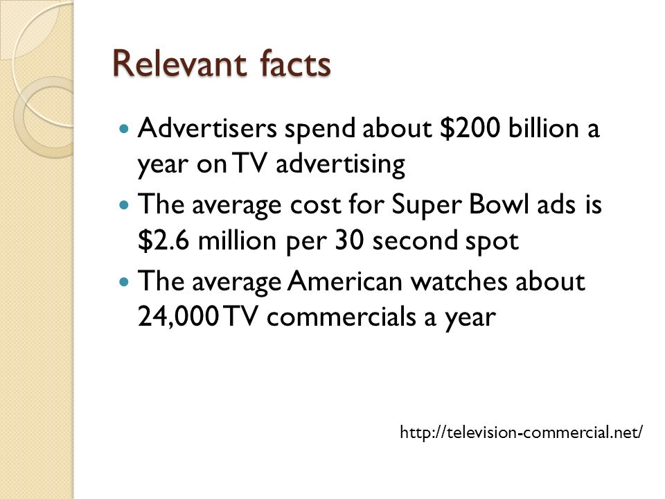 Relevant facts Advertisers spend about $200 billion a year on TV advertising.