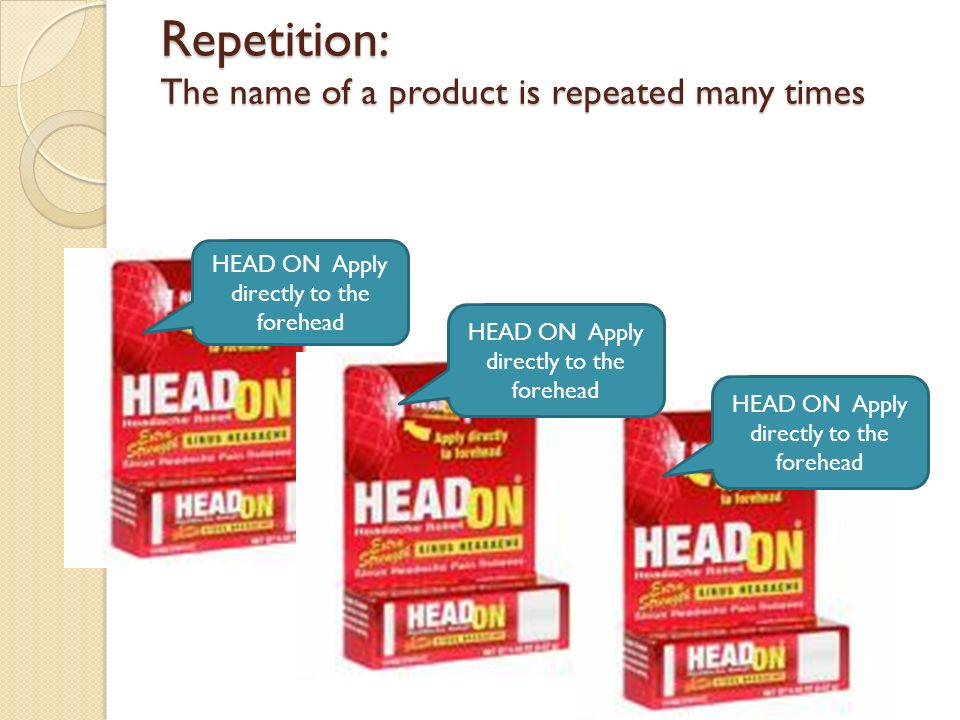 Repetition: The name of a product is repeated many times