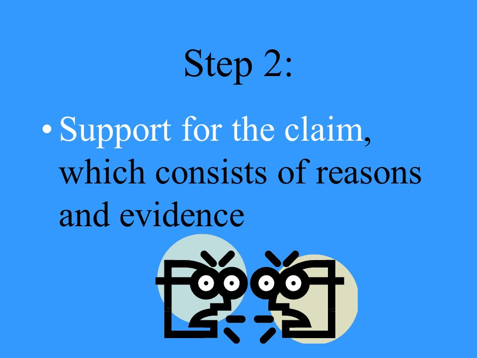 Step 2: Support for the claim, which consists of reasons and evidence