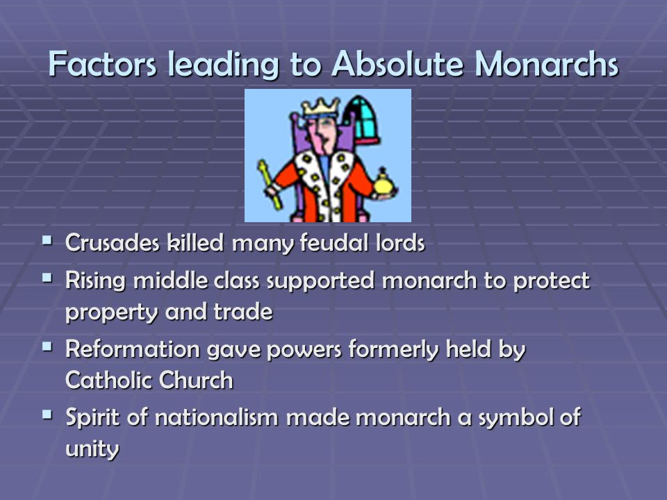 Factors leading to Absolute Monarchs