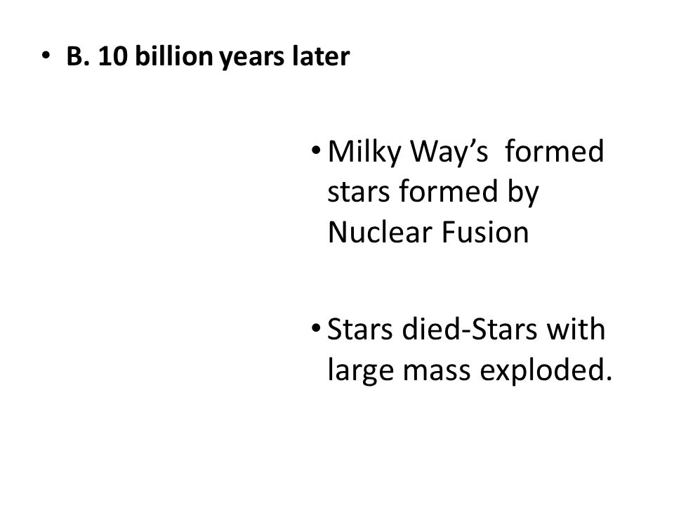 Milky Way's formed stars formed by Nuclear Fusion