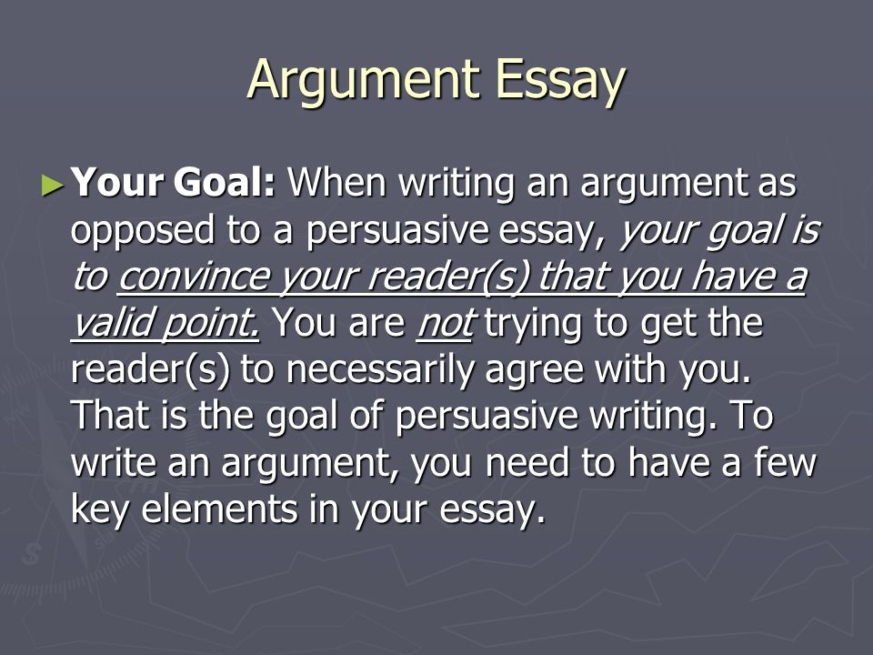key characteristics of an argument essay ppt  argument essay