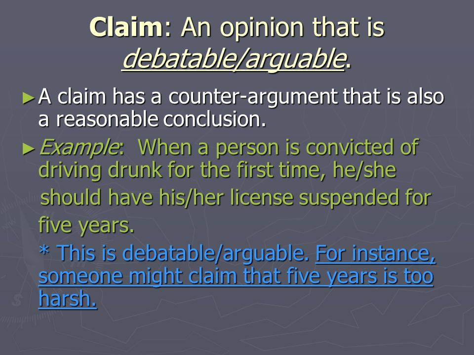 Claim: An opinion that is debatable/arguable.