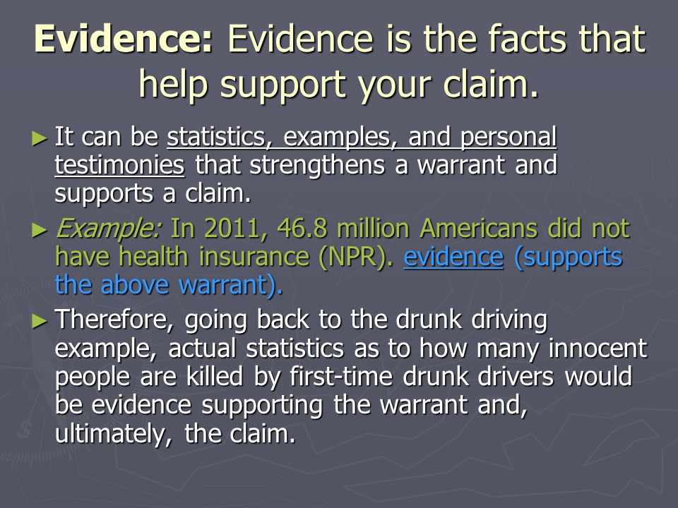 Evidence: Evidence is the facts that help support your claim.