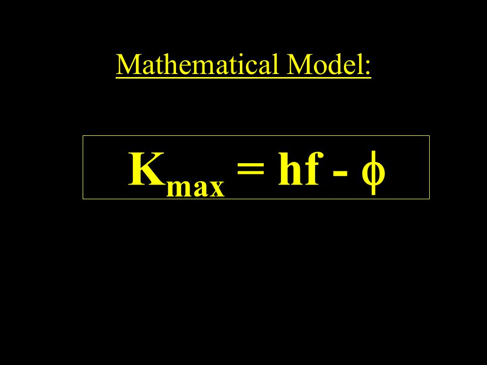 Mathematical Model: Kmax = hf - 