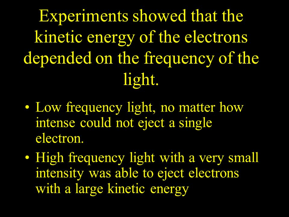 Experiments showed that the kinetic energy of the electrons depended on the frequency of the light.