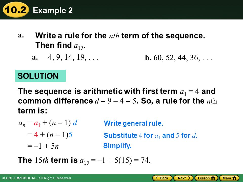 Write a rule for the nth term of the sequence. Then find a15. a.