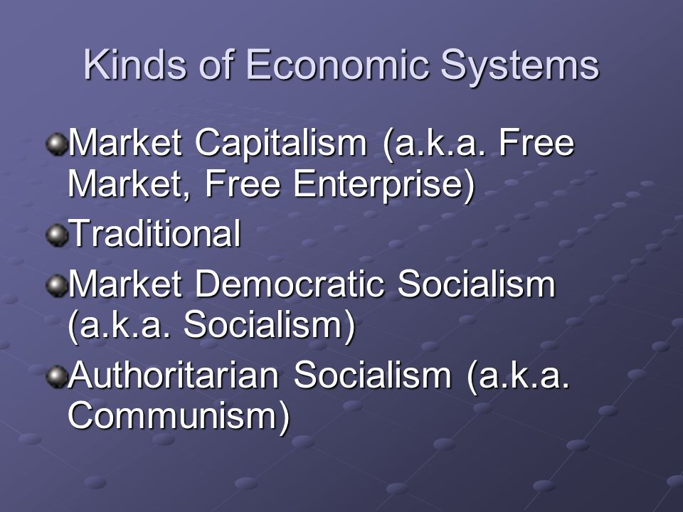 Kinds of Economic Systems