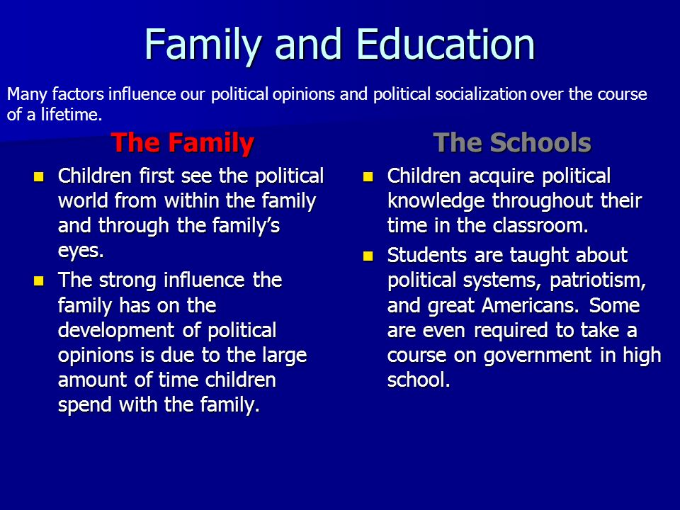 Family and Education The Family The Schools