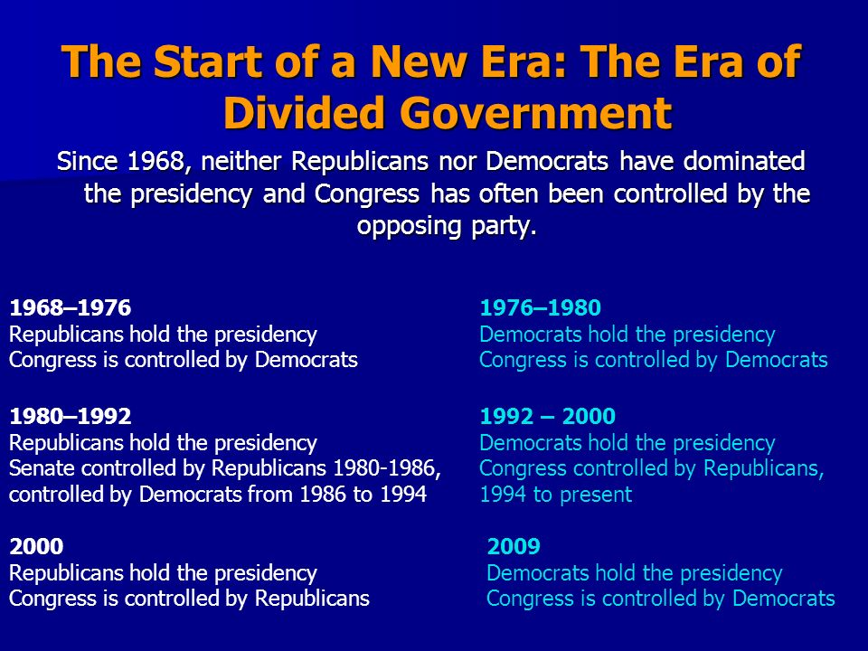 The Start of a New Era: The Era of Divided Government
