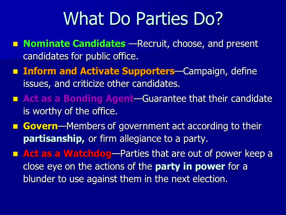 What Do Parties Do Nominate Candidates —Recruit, choose, and present candidates for public office.